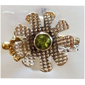 Genuine .50ct Peridot, 2-Tone Flower Ring Size 8